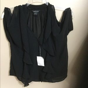 Mode international black bare shoulder top small